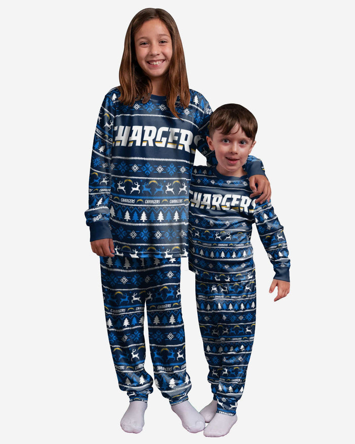 Los Angeles Chargers Youth Family Holiday Pajamas FOCO 4 - FOCO.com