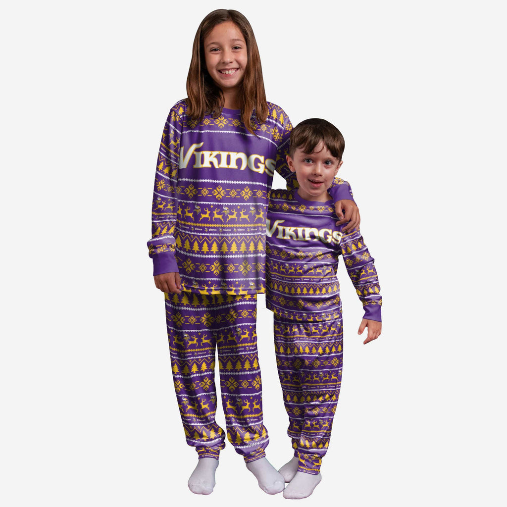 Minnesota Vikings Youth Family Holiday Pajamas FOCO 4 - FOCO.com