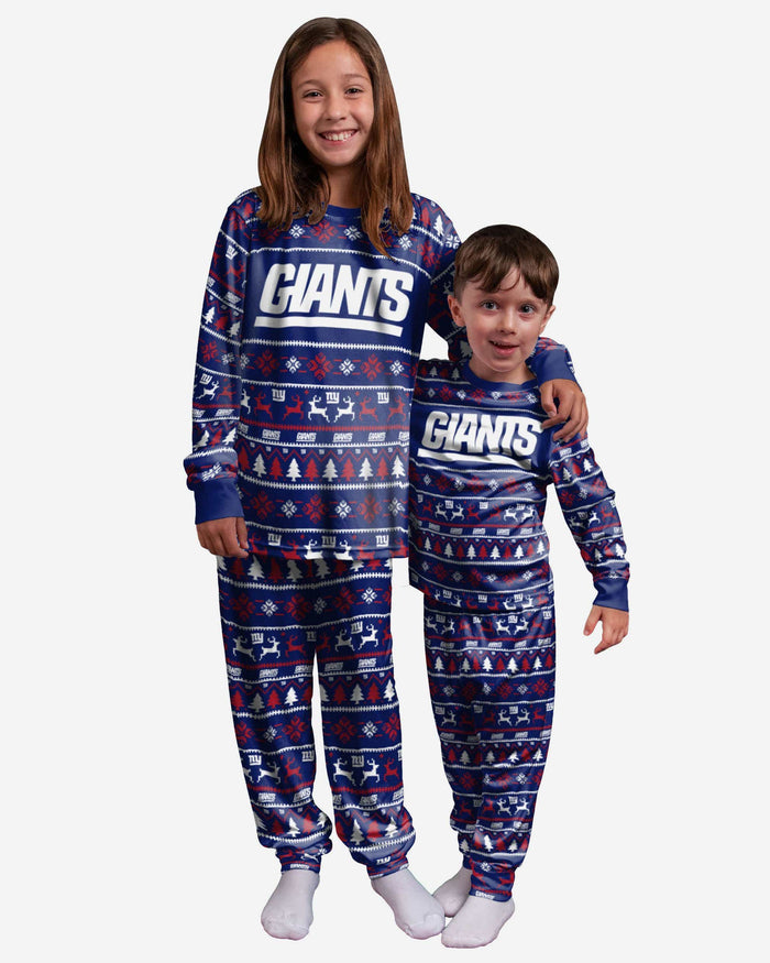 New York Giants Youth Family Holiday Pajamas FOCO 4 - FOCO.com