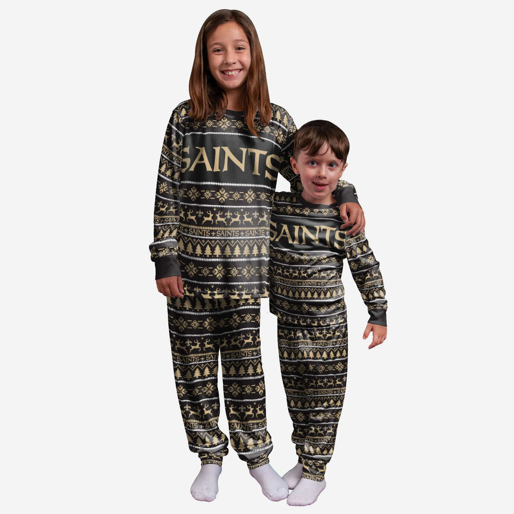 New Orleans Saints Youth Family Holiday Pajamas FOCO 4 - FOCO.com