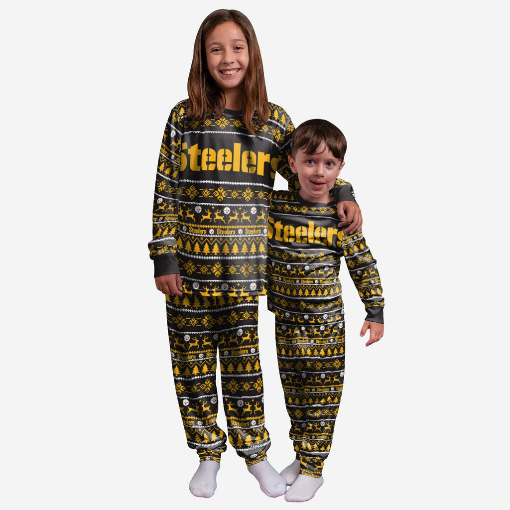 Pittsburgh Steelers Youth Family Holiday Pajamas FOCO 4 - FOCO.com