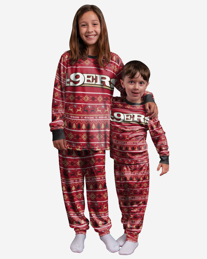 San Francisco 49ers Youth Family Holiday Pajamas FOCO 4 - FOCO.com