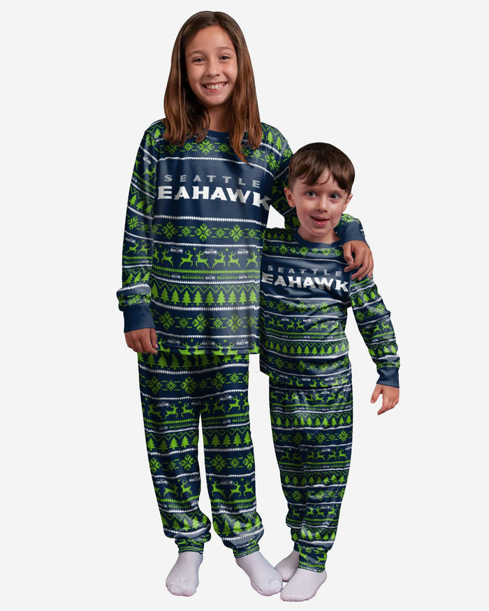 Seattle Seahawks Youth Family Holiday Pajamas FOCO 4 - FOCO.com