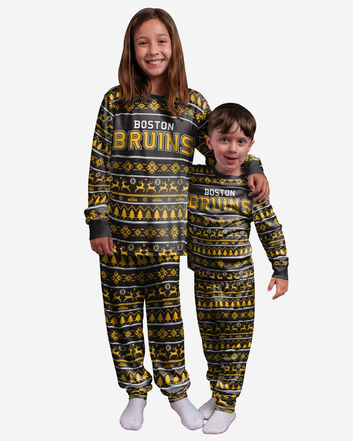 Boston Bruins Youth Family Holiday Pajamas FOCO - FOCO.com