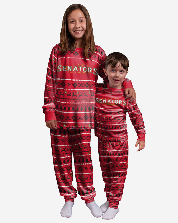 Ottawa Senators Youth Family Holiday Pajamas FOCO - FOCO.com