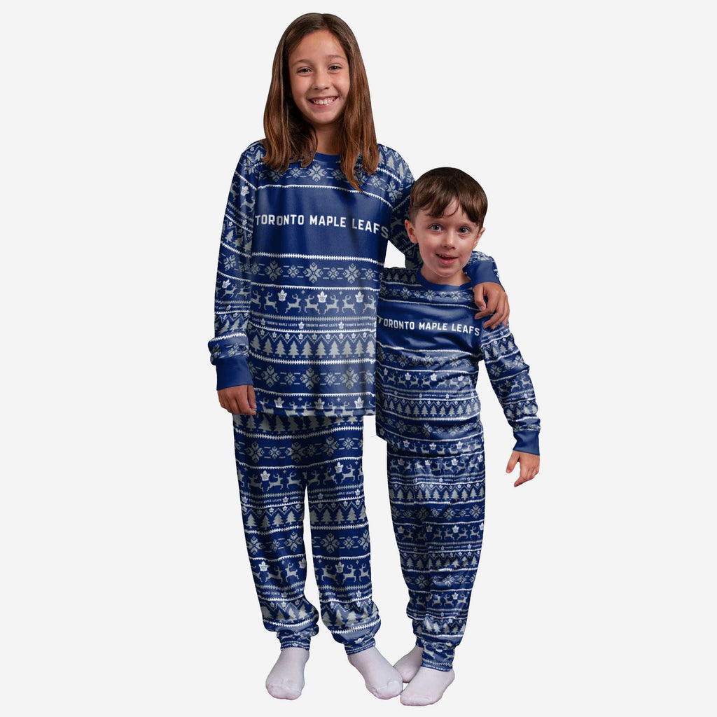 Toronto Maple Leafs Youth Family Holiday Pajamas FOCO - FOCO.com