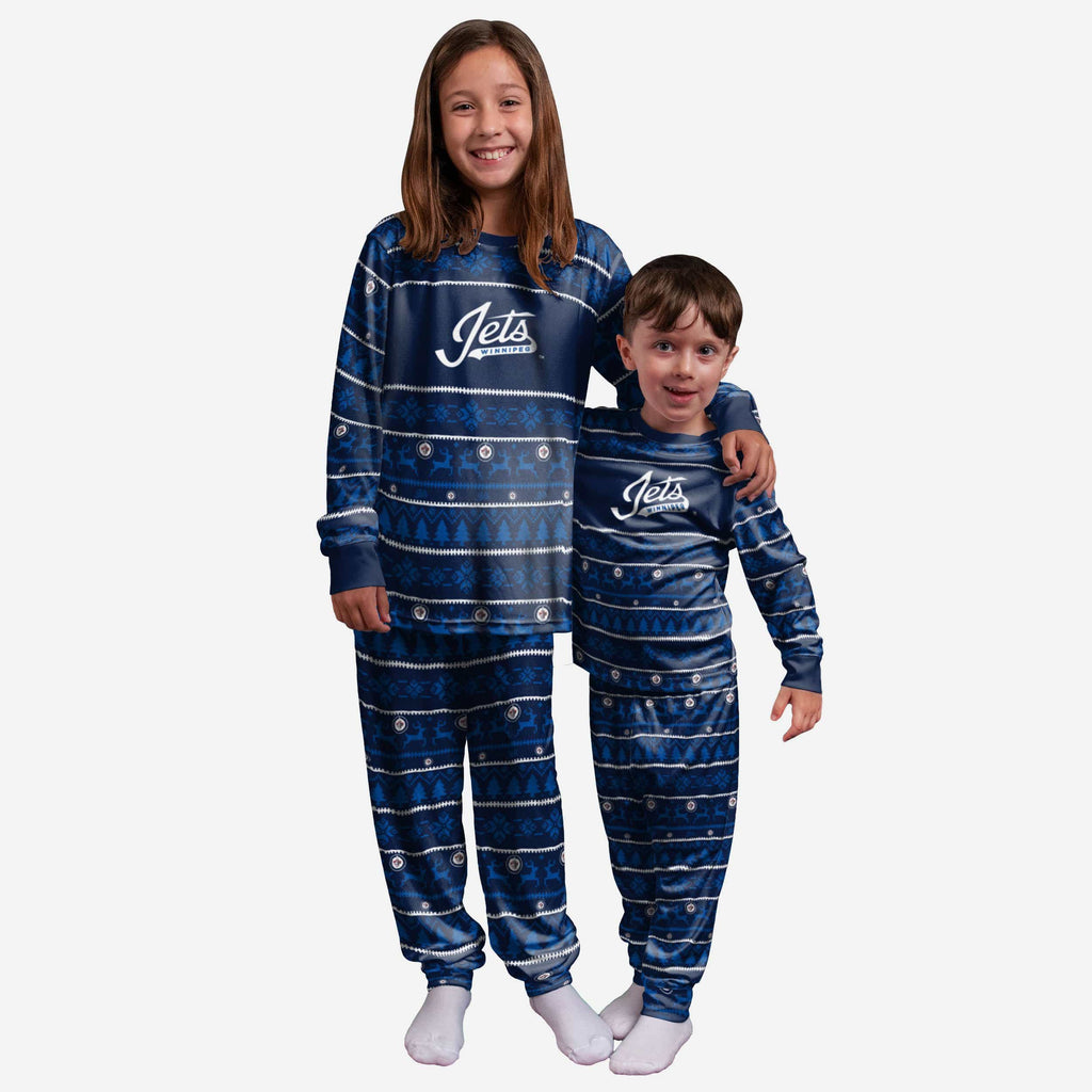 Winnipeg Jets Youth Family Holiday Pajamas FOCO - FOCO.com