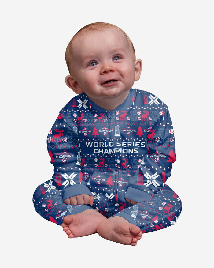Washington Nationals 2019 World Series Champions Infant Family Holiday Pajamas FOCO 12 mo - FOCO.com
