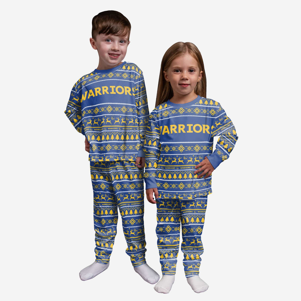 Golden State Warriors Toddler Family Holiday Pajamas FOCO 2T - FOCO.com