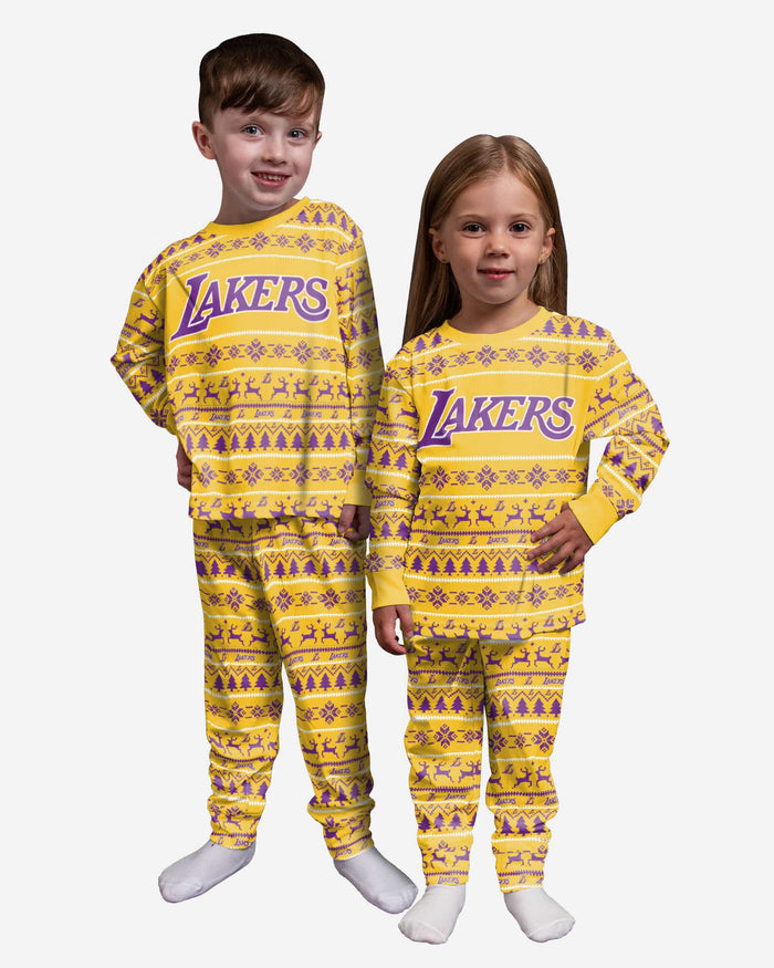 Los Angeles Lakers Toddler Family Holiday Pajamas FOCO 2T - FOCO.com