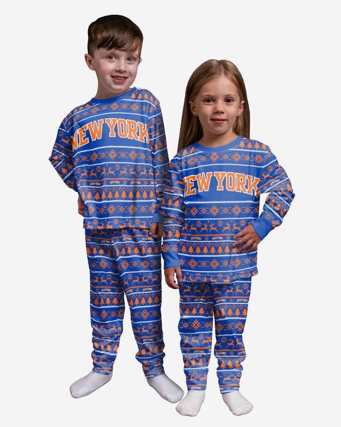 New York Knicks Toddler Family Holiday Pajamas FOCO 2T - FOCO.com
