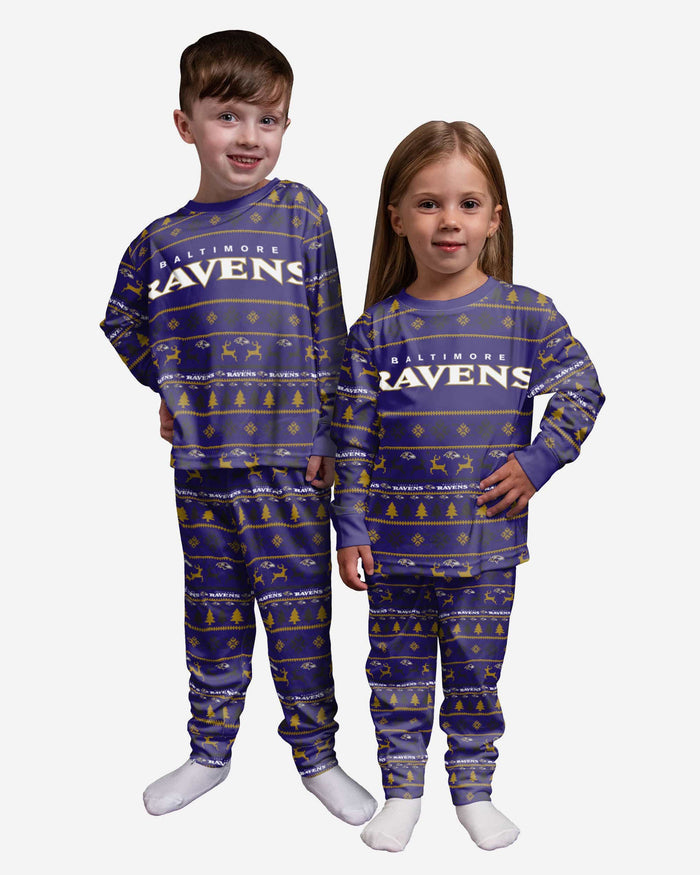 Baltimore Ravens Toddler Family Holiday Pajamas FOCO 2T - FOCO.com