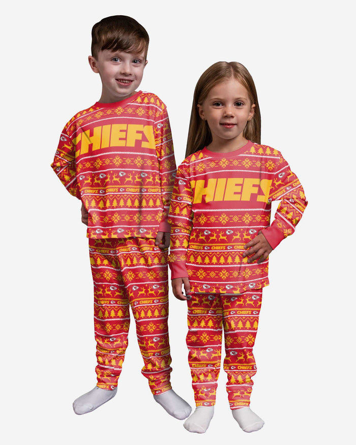 Kansas City Chiefs Toddler Family Holiday Pajamas FOCO 2T - FOCO.com