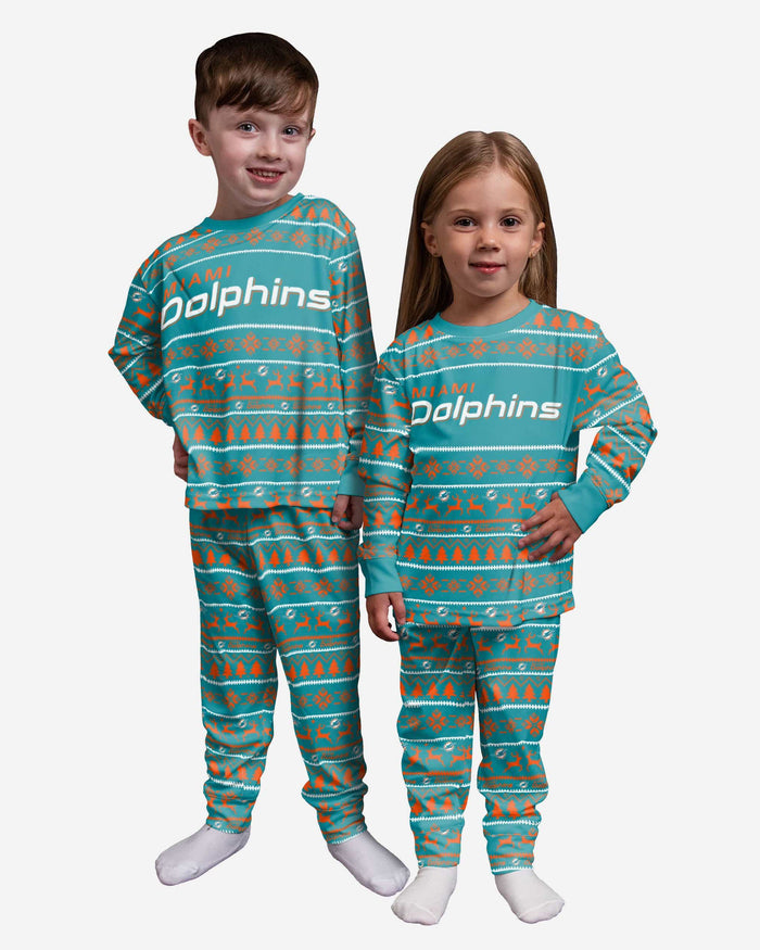 Miami Dolphins Toddler Family Holiday Pajamas FOCO 2T - FOCO.com