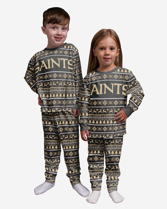 New Orleans Saints Toddler Family Holiday Pajamas FOCO 2T - FOCO.com