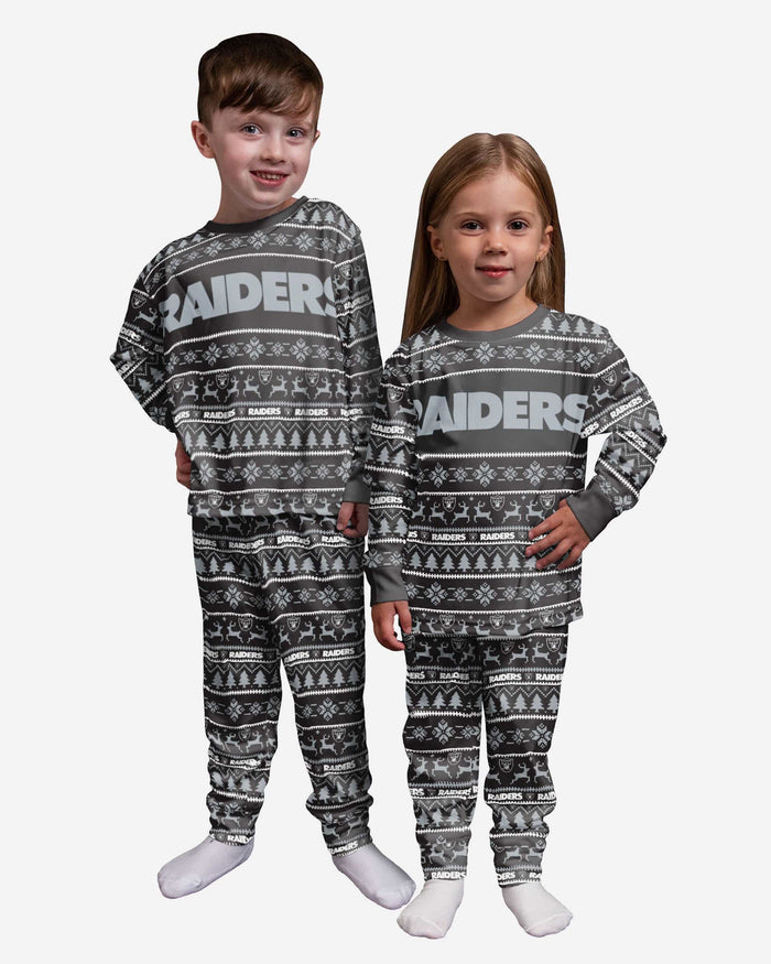 Las Vegas Raiders Toddler Family Holiday Pajamas FOCO 2T - FOCO.com