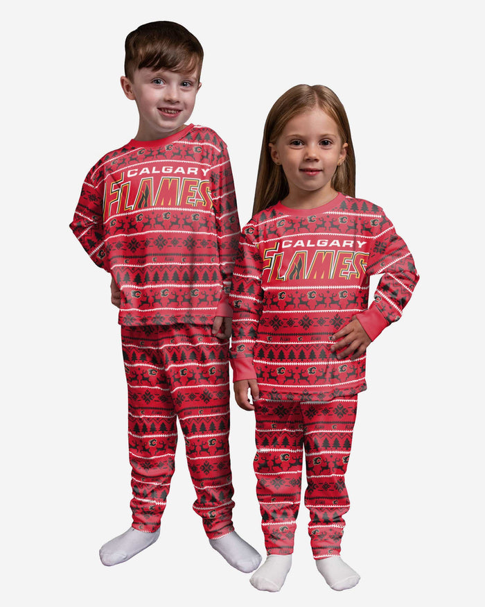 Calgary Flames Toddler Family Holiday Pajamas FOCO 2T - FOCO.com