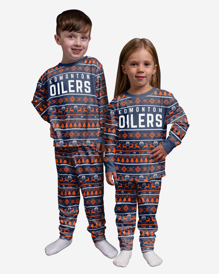 Edmonton Oilers Toddler Family Holiday Pajamas FOCO 2T - FOCO.com