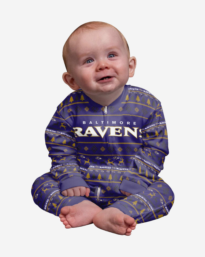 Baltimore Ravens Infant Family Holiday Pajamas FOCO 12 mo - FOCO.com