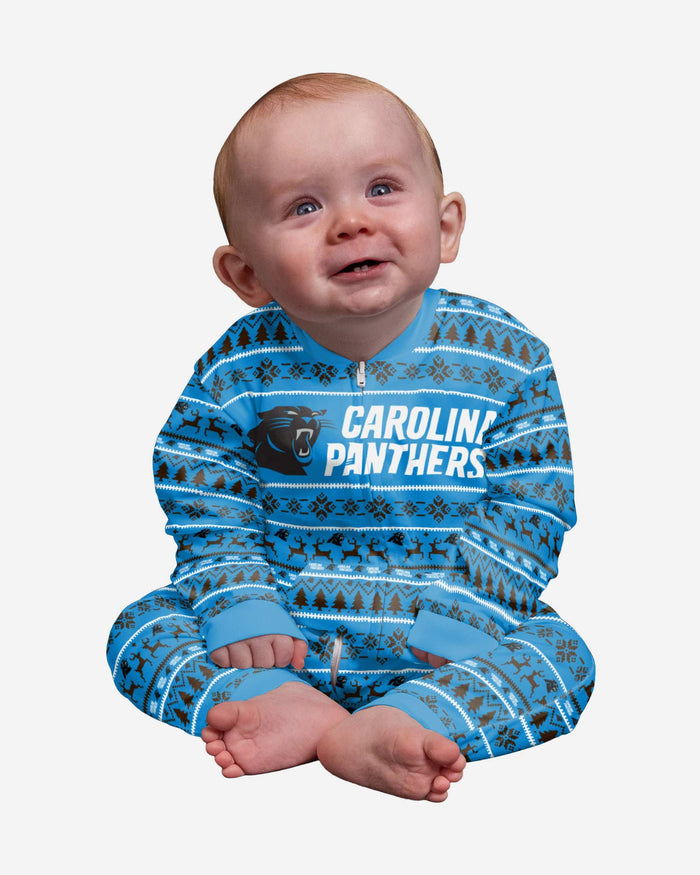 Carolina Panthers Infant Family Holiday Pajamas FOCO 12 mo - FOCO.com