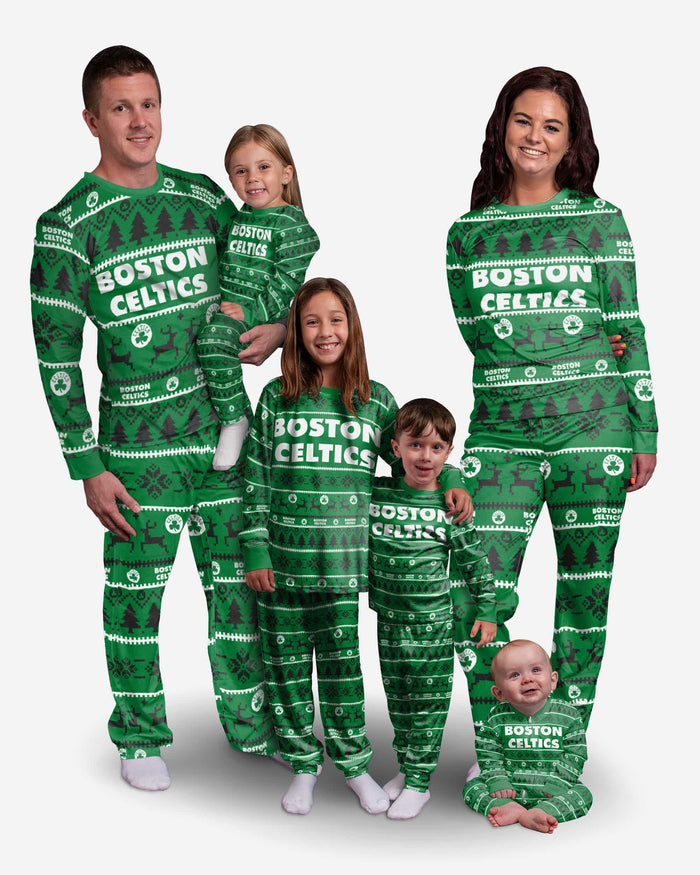 Boston Celtics Toddler Family Holiday Pajamas FOCO - FOCO.com