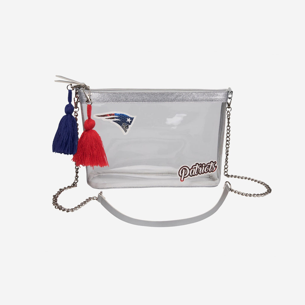 New England Patriots Sequin Clear Purse FOCO - FOCO.com