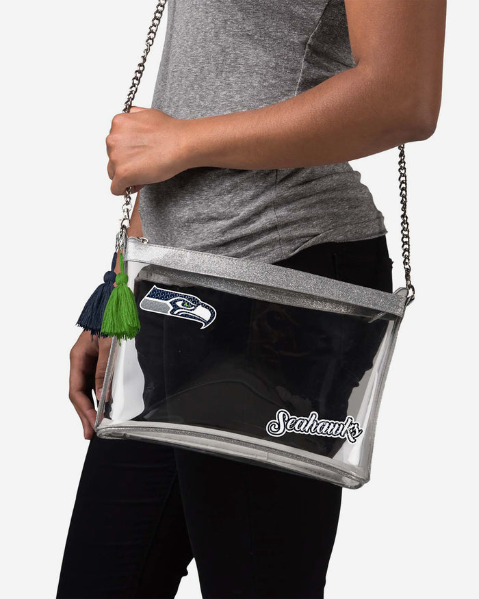 Seattle Seahawks Sequin Clear Purse FOCO - FOCO.com