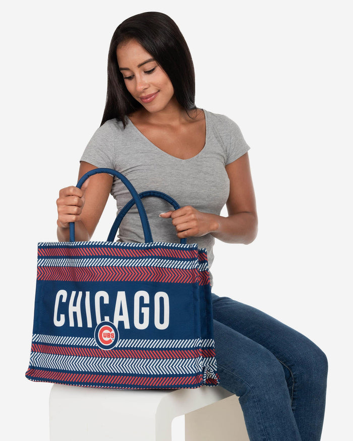 Chicago Cubs Stitch Pattern Canvas Tote Bag FOCO - FOCO.com