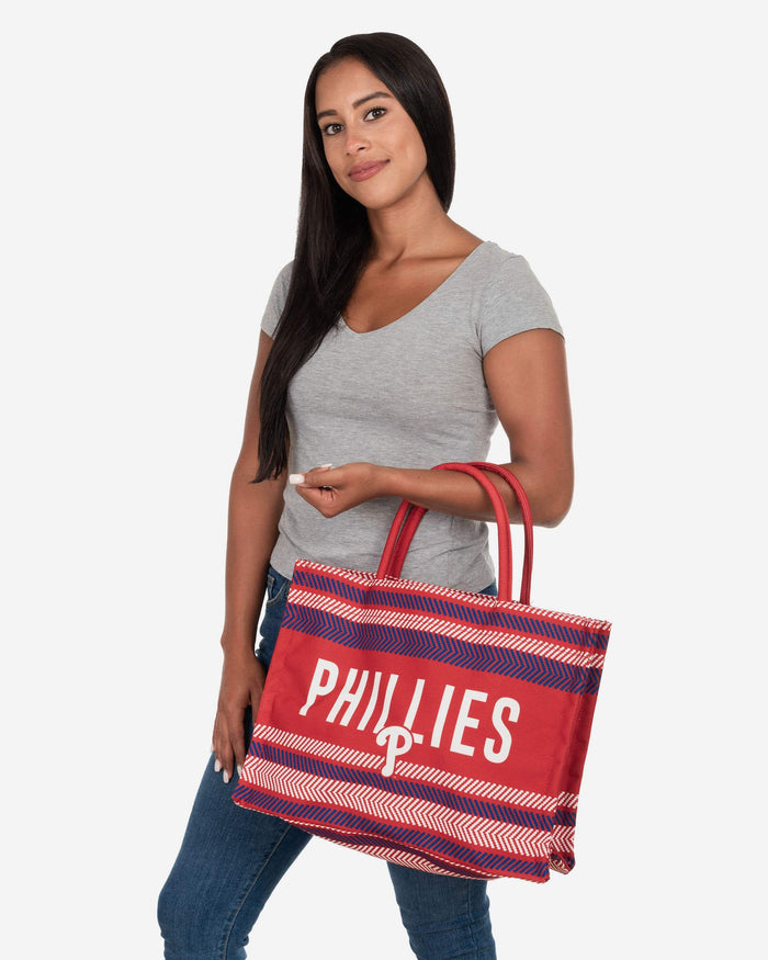 Philadelphia Phillies Stitch Pattern Canvas Tote Bag FOCO - FOCO.com