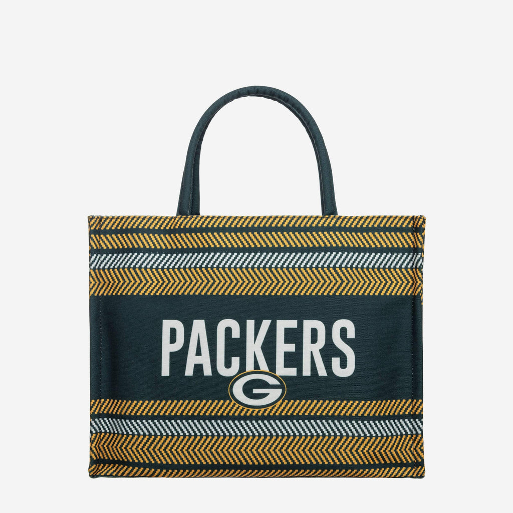Green Bay Packers Stitch Pattern Canvas Tote Bag FOCO - FOCO.com
