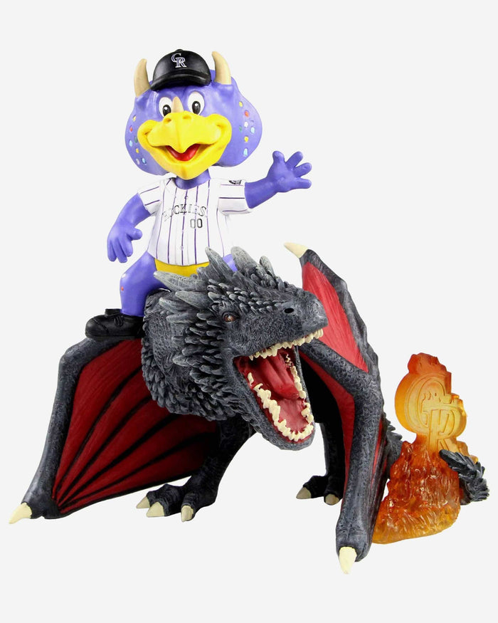 Colorado Rockies Dinger Game Of Thrones Mascot On Fire Dragon Bobblehead FOCO - FOCO.com