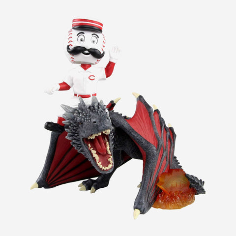 Cincinnati Reds Mr Redlegs Game Of Thrones Mascot On Fire Dragon Bobblehead