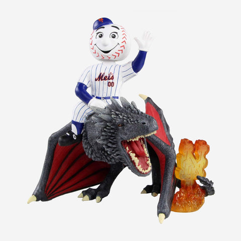 New York Mets Mr Met Game Of Thrones Mascot On Fire Dragon Bobblehead