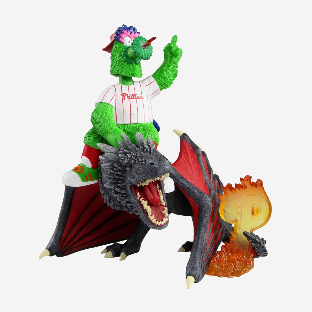 Philadelphia Phillies Phillie Phanatic Game Of Thrones Mascot On Fire Dragon Bobblehead FOCO - FOCO.com