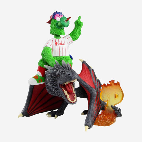 Philadelphia Phillies Phillie Phanatic Game Of Thrones Mascot On Fire Dragon Bobblehead