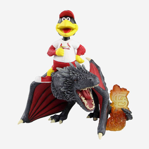St Louis Cardinals Fredbird Game Of Thrones Mascot On Fire Dragon Bobblehead