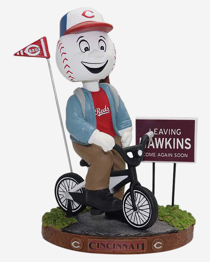 Mr Redlegs Cincinnati Reds Stranger Things Mascot On Bike Bobblehead FOCO - FOCO.com