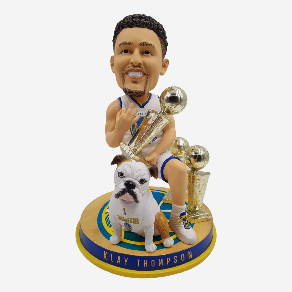 Klay Thompson And Rocco Golden State Warriors 3-Time Champ Bobblehead FOCO - FOCO.com