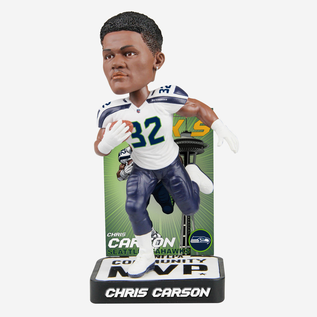 Chris Carson Seattle Seahawks 2018 Community MVP Award Bobblehead FOCO - FOCO.com