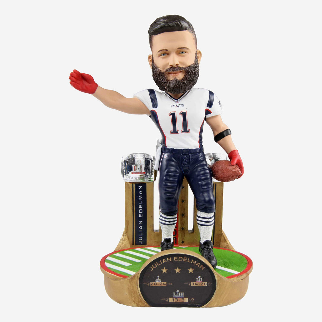 Julian Edelman New England Patriots 3X Super Bowl Champion Bobblehead FOCO - FOCO.com
