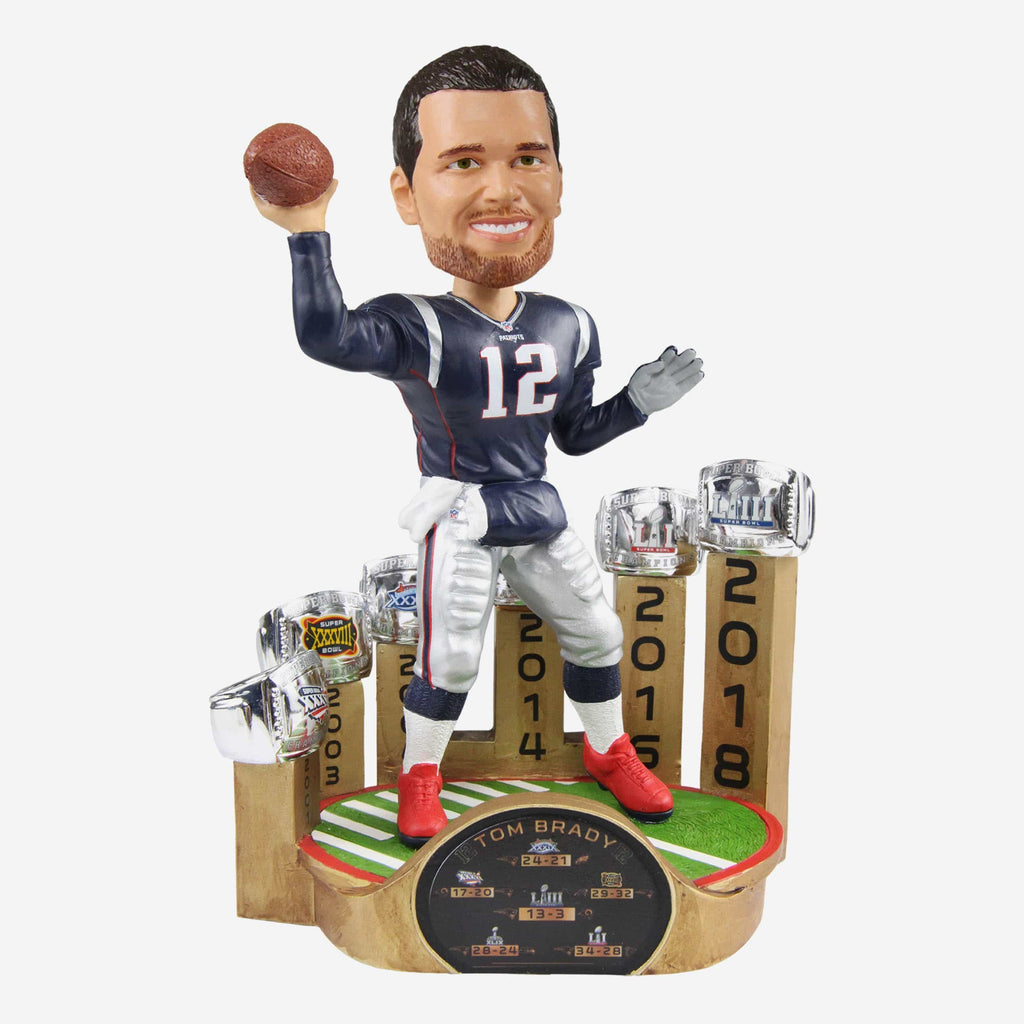 Tom Brady New England Patriots 6X Super Bowl Champion Bobblehead FOCO - FOCO.com