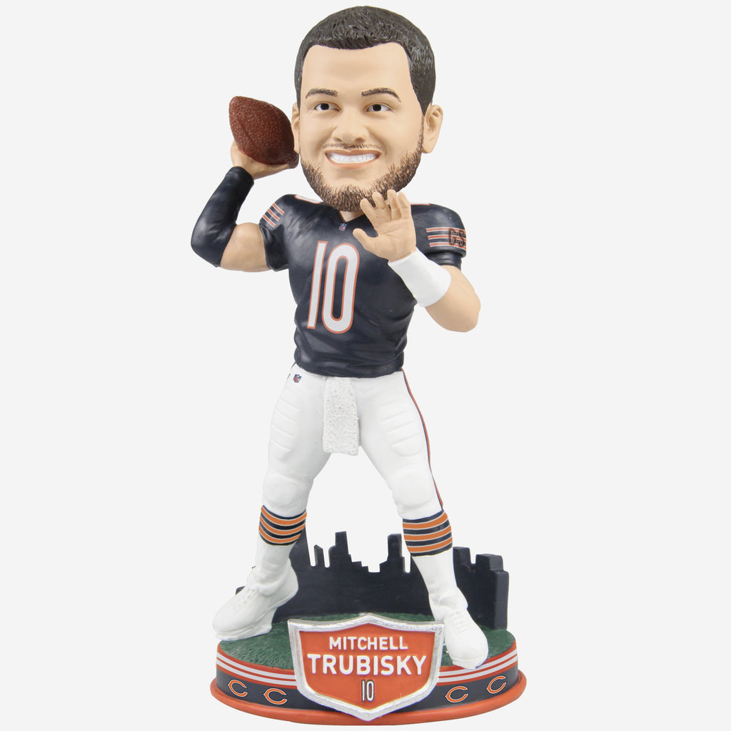 Mitchell Trubisky Chicago Bears City Skyline Bobblehead FOCO - FOCO.com