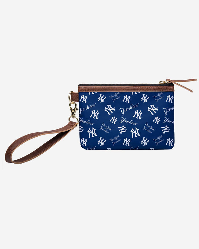 New York Yankees Printed Collection Repeat Logo Wristlet FOCO - FOCO.com