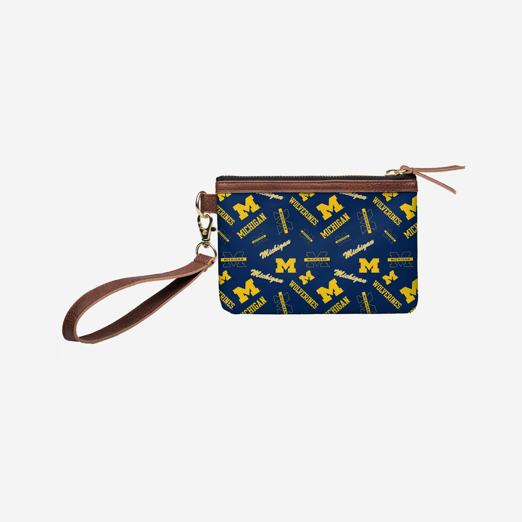 Michigan Wolverines Printed Collection Repeat Logo Wristlet FOCO - FOCO.com