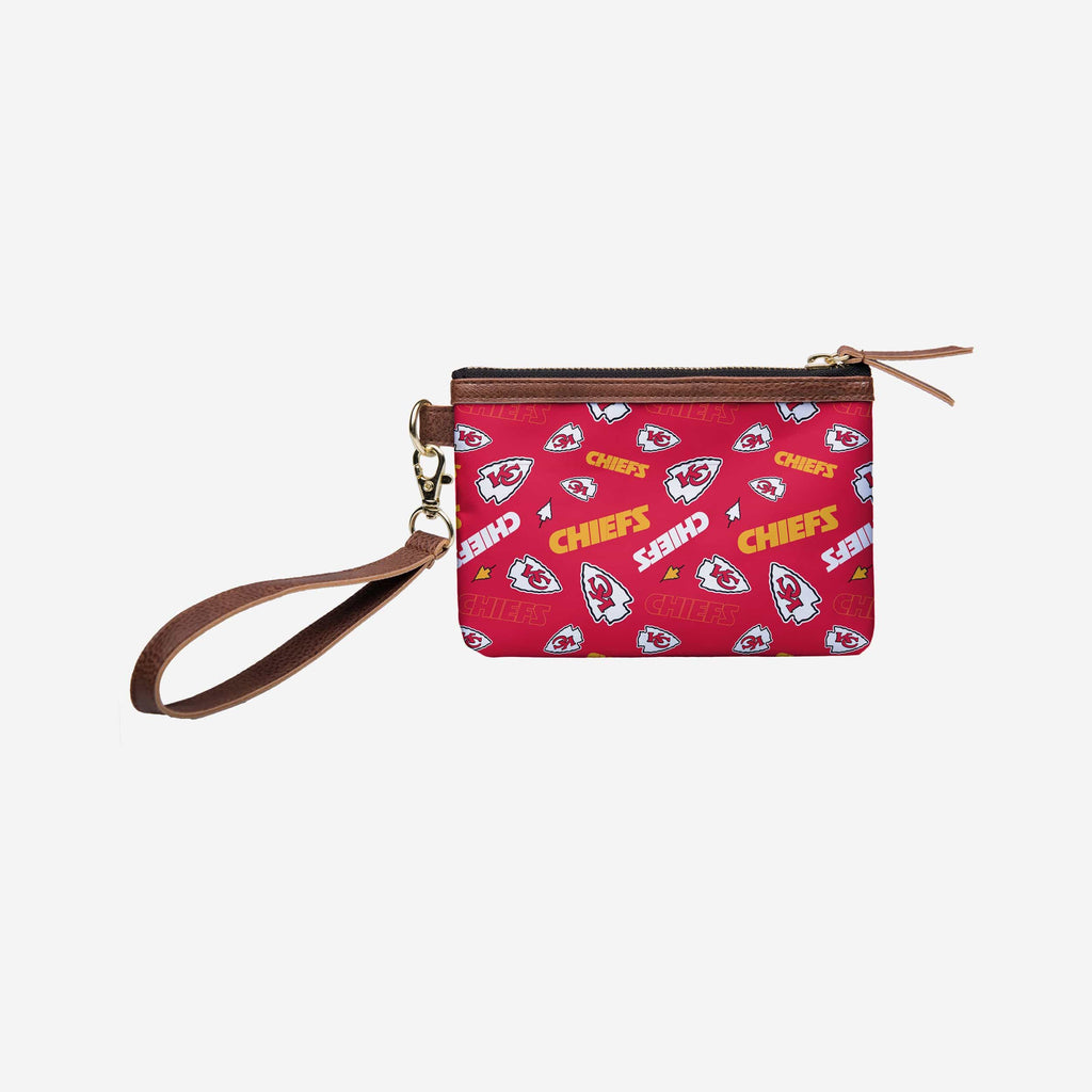 Kansas City Chiefs Printed Collection Repeat Logo Wristlet FOCO - FOCO.com