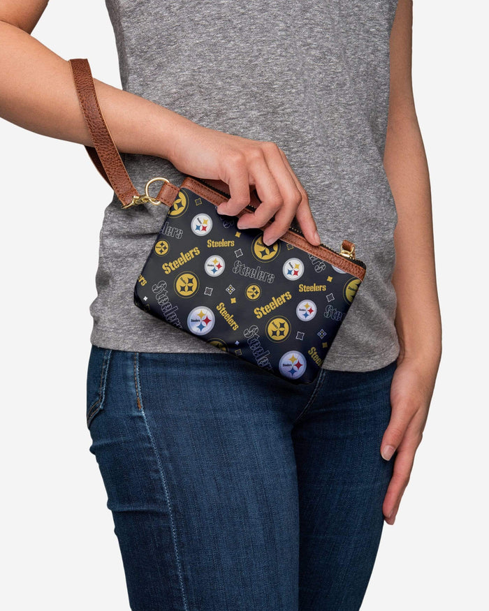 Pittsburgh Steelers Printed Collection Repeat Logo Wristlet FOCO - FOCO.com