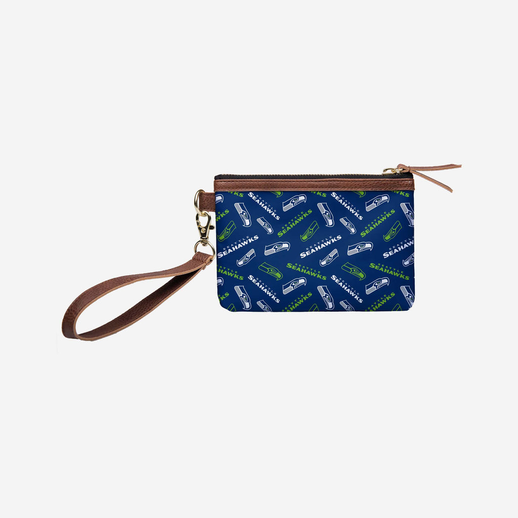 Seattle Seahawks Printed Collection Repeat Logo Wristlet