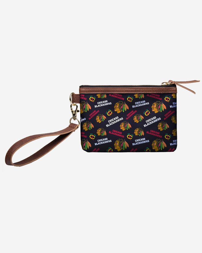 Chicago Blackhawks Printed Collection Repeat Logo Wristlet FOCO - FOCO.com