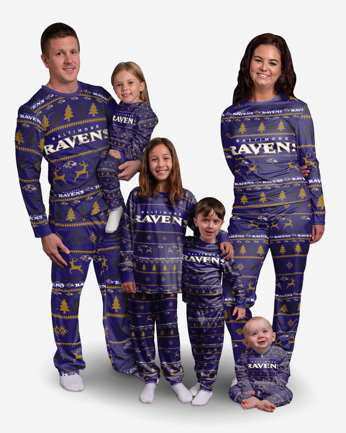 Baltimore Ravens Infant Family Holiday Pajamas FOCO - FOCO.com