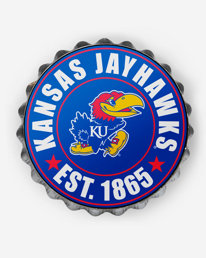 Kansas Jayhawks Bottle Cap Wall Sign FOCO - FOCO.com